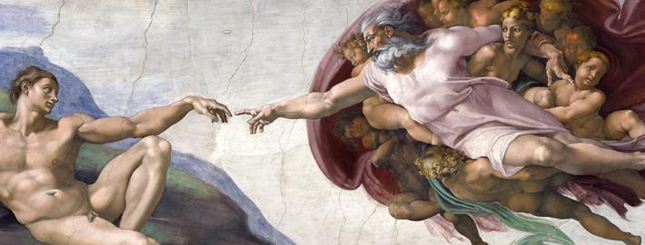 La creazione di Adamo. Michelangelo Buonarroti, Cappella Sistina, Roma