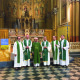 Padre Rinaldo Battaglio con i confratelli al termine della messa dei 60 anni di ordinazione